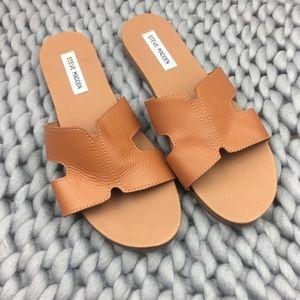 Steve Madden Brown Hoku Leather Slide Sandal
